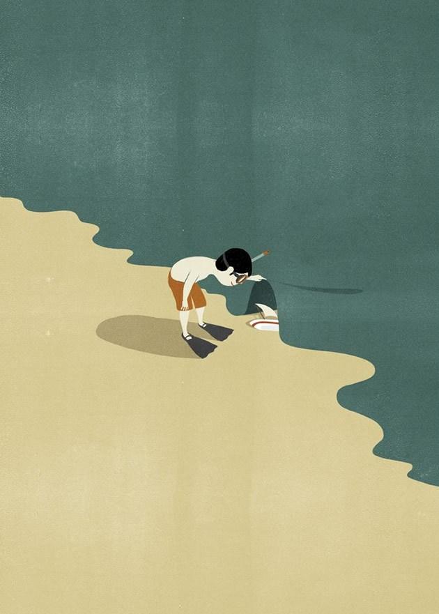 Sempre Shout: qualche anno fa per l'agenzia Matite di Ravenna realizzò un progetto fantastico per Seac, azienda leader nel settore degli attrezzi per sub. Una serie di illustrazioni che evocassero idee, sensazioni ed emozioni legate al mondo sottomarino, in cui i prodotti erano in secondo piano e in primo piano c'era il racconto della visione dell'azienda e dei suoi sogni. Il lavoro fu premiato con la prima medaglia d'oro della Society of Illustrators di New York vinta da Shout.